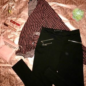 Zara Basic Black Zipper Pant